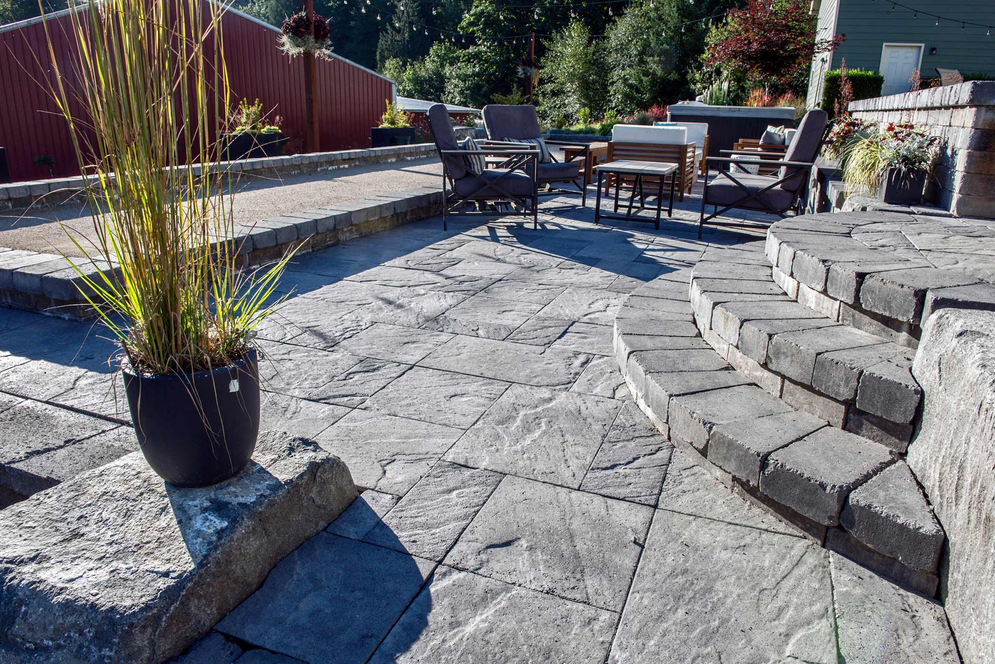Bocce ball court, paver patio and stairway