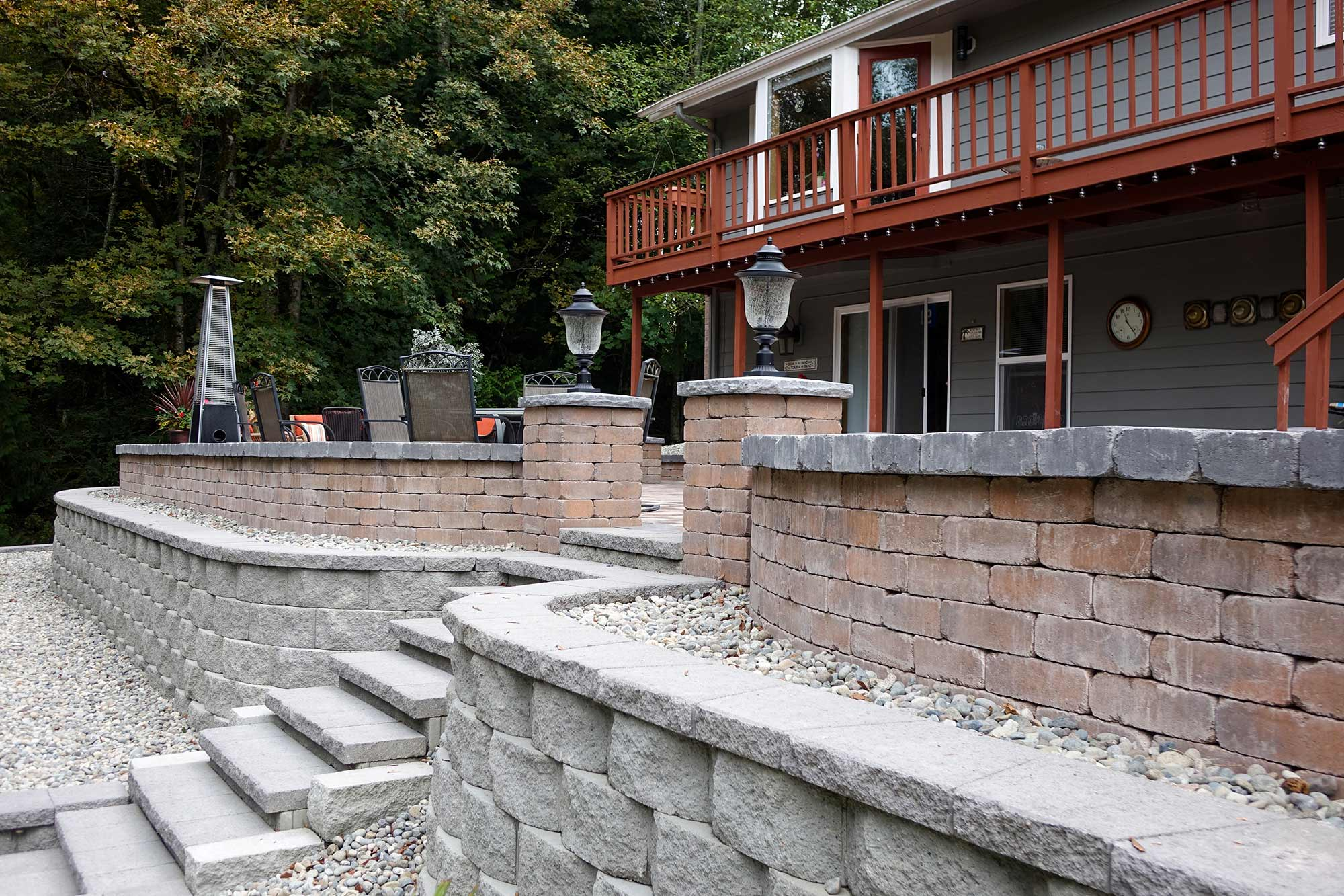 Retaining wall and paver pato