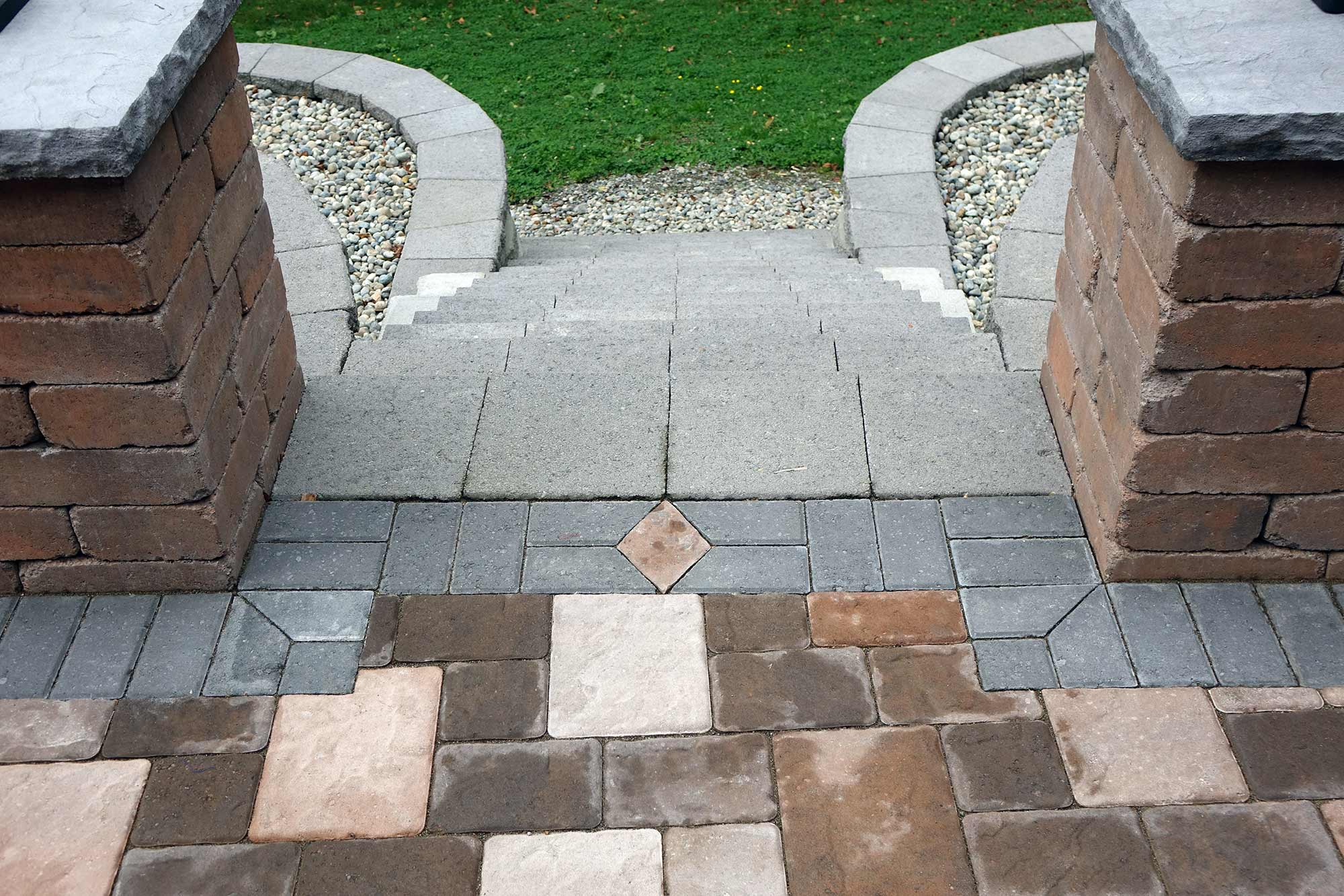 paver patio, sitting wall and staircase