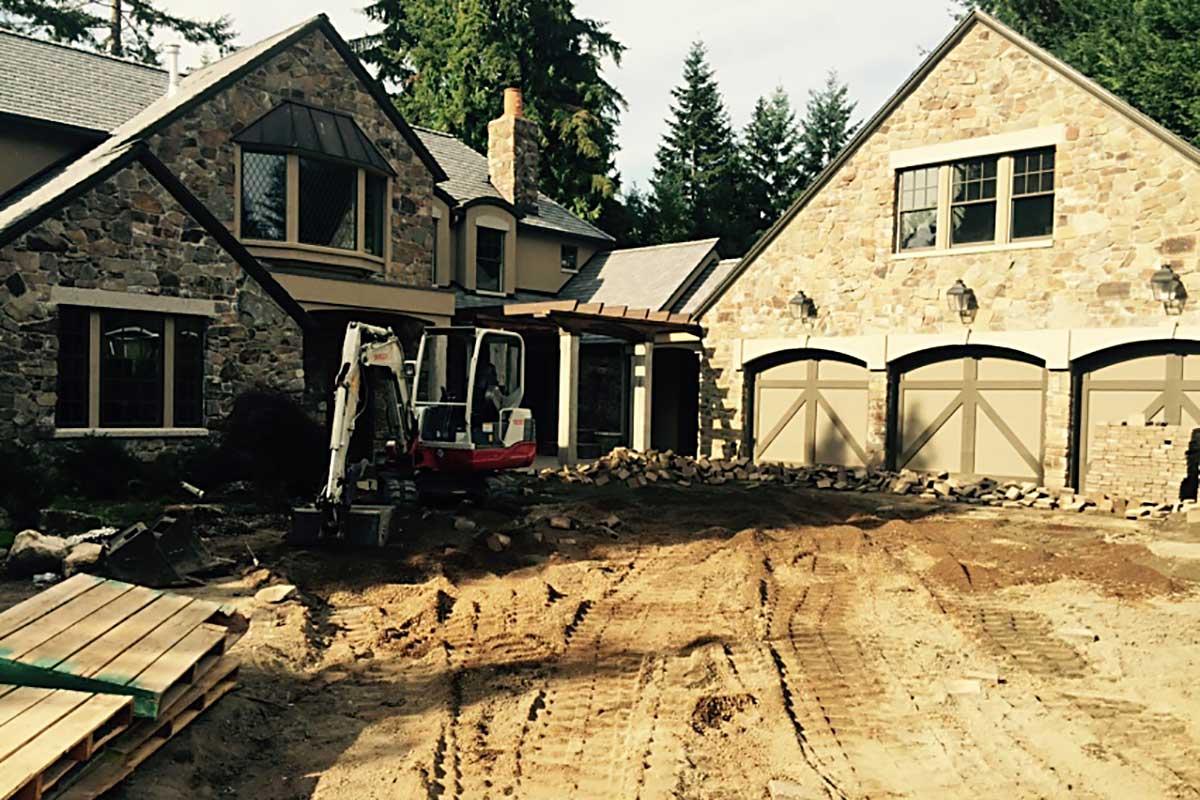paver stone driveway under construction