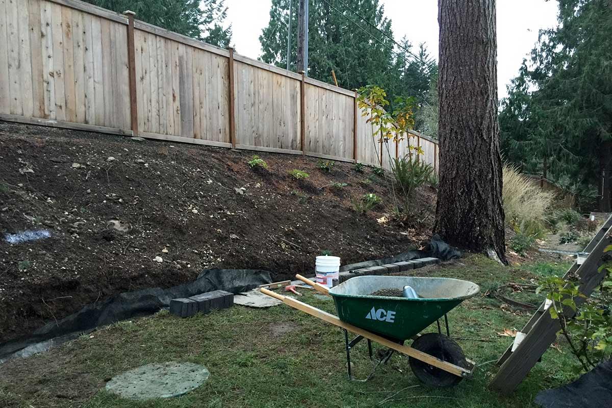 Before retaining wall installation