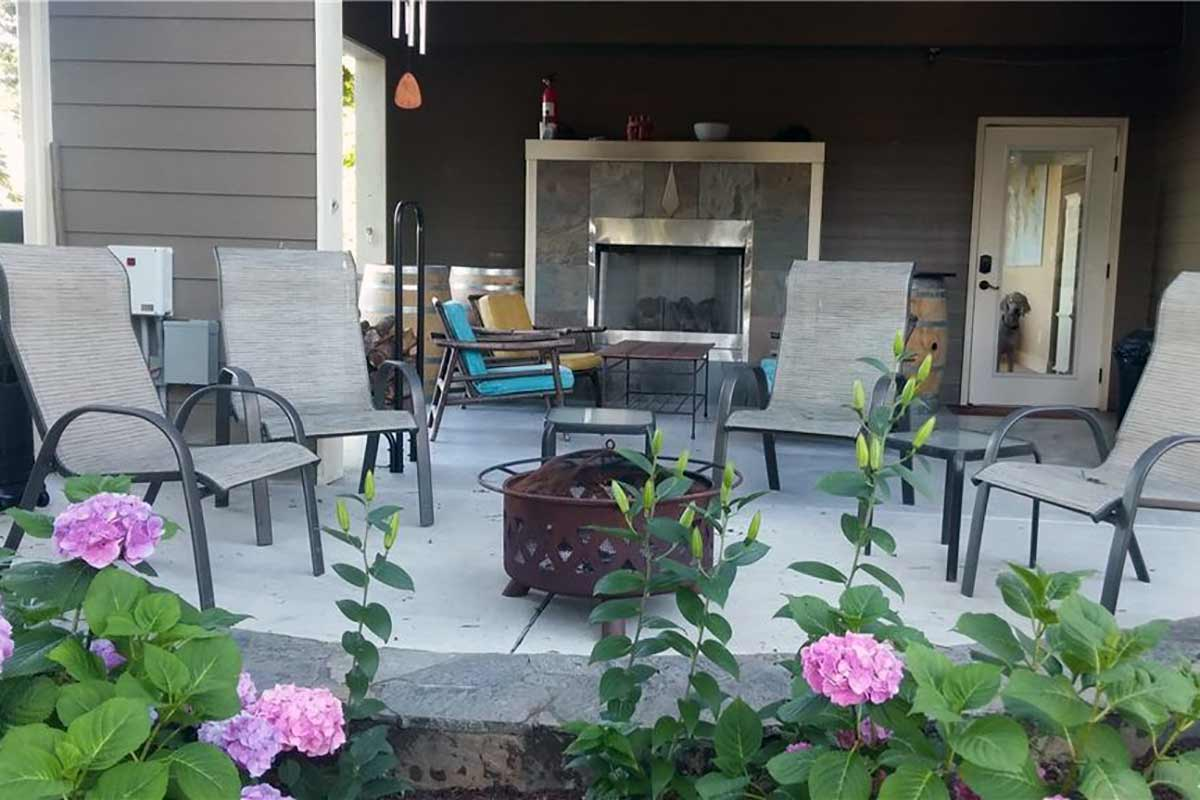 Concrete patio and fire pit